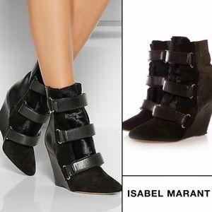 Isabel Marant Pierce Fur Leather Wedge Booties 37